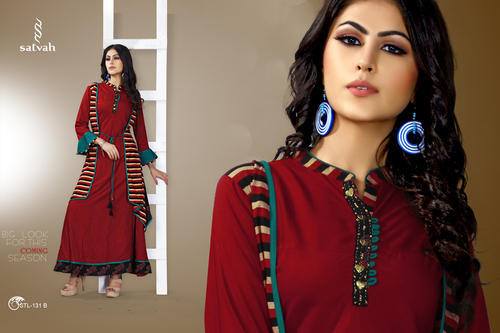 Party And Wedding Wear Printed Cotton Jacket Kurti Id 17793521691