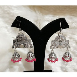 Oxidized German Silver with Pink Beads Heavy Jhumka
