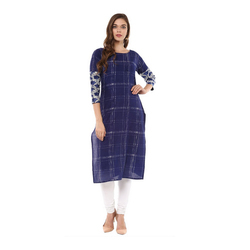 Dark Blue Check Kurta