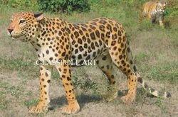 Fiber Leopard Animal Statue