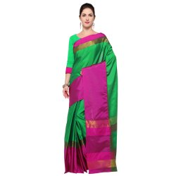 Green and Pink Colored Poly Silk Plain Saree