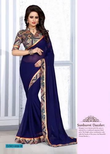 551727d558956 Blended Chiffon Party Wear Indiyan Beauty   Plain Printed Chiffon Sarees