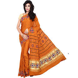 Gaji Silk Bandhej Yellow Print Saree