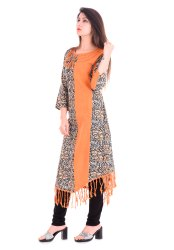 Yash Gallery Women's Cotton A-Line Kalamkari Print Kurta