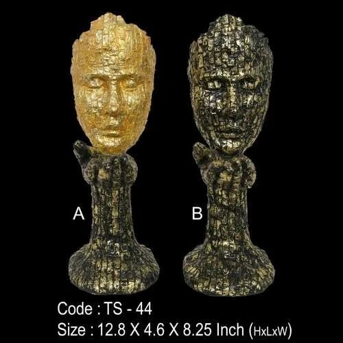 TS-44 Abstract Polyresin Face Statue, for Interior Decor, Size/Dimension: 12.8x4.6x8.25 Inch ( Hxlxw )