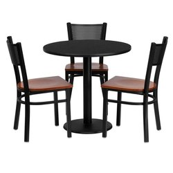 Wooden 3 Chair,1 Table Round Iron Dining Table Set, Size/Dimension: 3 Inch (diameter), for Restaurant