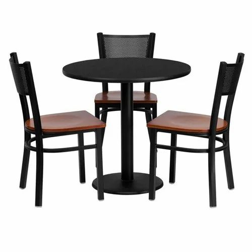 Wooden 3 Chair 1 Table Round Iron Dining Table Set Size Dimension 3 Inch Diameter For Restaurant Rs 15000 Set Id 5696243112