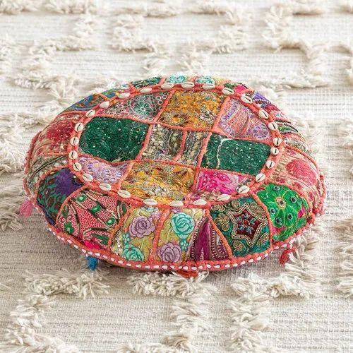 Patchwork round cushion patchwork embroidered suti floor cushion