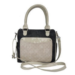 Spice Art Cream And Black Leather Satchel Bag
