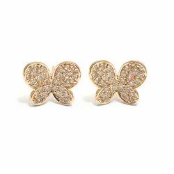 14k Rose Gold Pave Diamond Studs