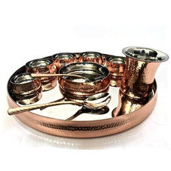 Copper Hammered Maharaja Thali Set With Rice Bowl