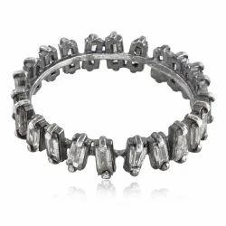 Single Line Baguette Diamonds Silver Ring Jewelry