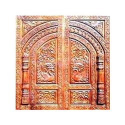 Polished Hand Carved Temple Wooden Door