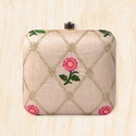 Square Shape Embroidery Box Clutch