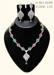 American Diamond Cubic Zircon Necklace Set