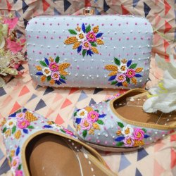 Spring Design Punjabi Jutti With Matching Clutches