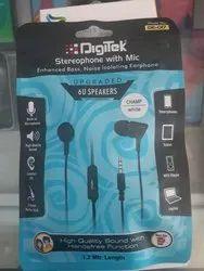 Black DE-017 Digitek Wired Earphone