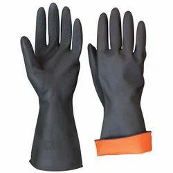 Black Unisex PVC Gloves, Finger Type: Full Fingered