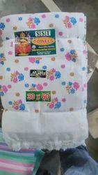 Printed Cotton White Flower Print Towel