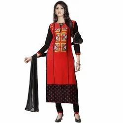 Rajnandini Red And Black Heavy Glass Cotton Embroidered Unstitched With Zari Work Weaved Dupatta