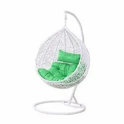 White Hanging Swing Chair with Cushion & Hook