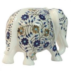 Decorative Marble Elephant  Inlay Work
