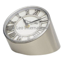 Silver The Leo International Metal Dial Table Clock, Shape: Round