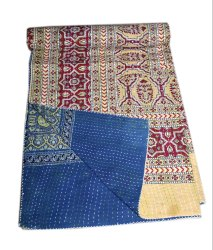 Indian Cotton Handmade Kantha Quilt Ajark Hand Block Bedding Bedspread Hippie King Size Kantha Bed
