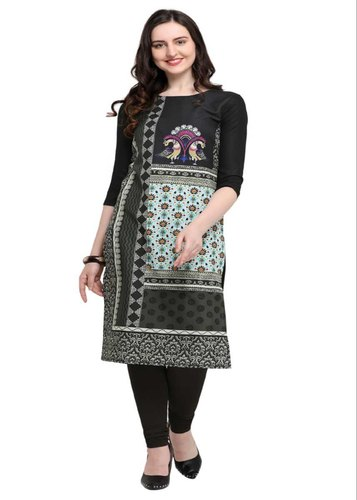864d301c6ec6 Women Kurtis - Printed Black Kurti Wholesale Trader from Surat