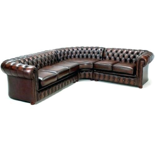 Artificial Leather Dark Brown Button Bonded Chesterfield Style