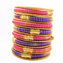 Indian Handcraft Hot Skull Colourful Silk Thread Bangles