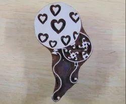 Heart Printed Pattern Wooden Printing Blocks