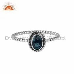 London Blue Topaz Gemstone Oxidized Silver Womens Rings