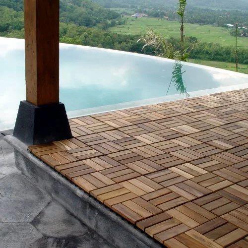 Genial Brown Square Hard Wood Deck Tiles