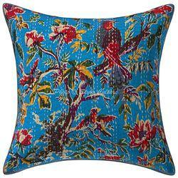 Kantha Printed Boho Decor Cotton Bird Cushion Cover Blue