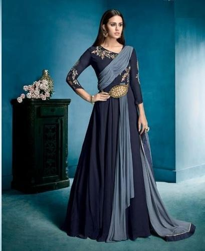 f12d0543e1c Megh Craft Designer Exclusive Beautiful Indian Gown - Embroidered Georgette  Fashion Wear Dress