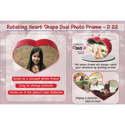 Red Rotating Heart Shape Dual Photo Frame