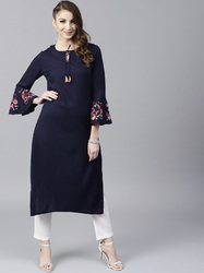 NAVY BLUE SOLID STRAIGHT KURTA WITH EMBROIDERY SLEEVE
