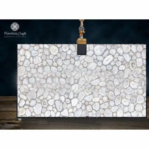 White Crystal Agate Slab
