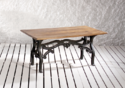 Retro Cast Iron Base Cafe Table With Concrete Finish Top
