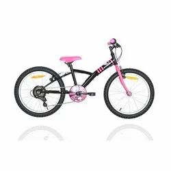 Steel (Frame) BTwin Mistigirl 320 Black and Pink Kids Bicycle