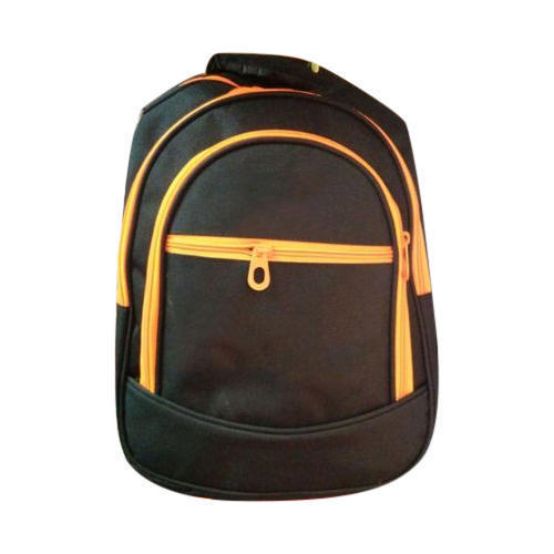 70c361c9e3 Polyester Black And Orange Zipper Laptop Backpack, Rs 400 /piece ...