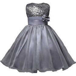 Chiffon, Satin Kids Gown