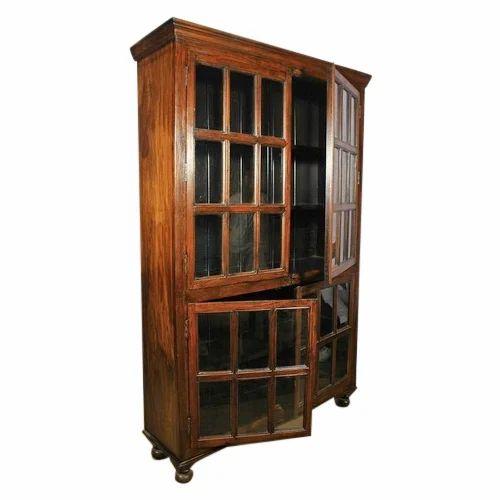 wooden library cabinet cupboard library shivam exports jodhpur