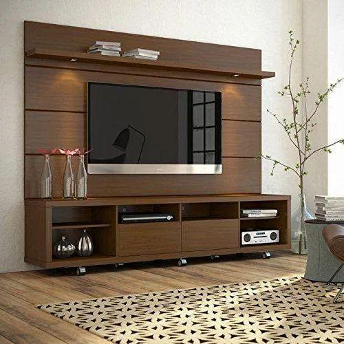 Living Room Wooden Tv Wall Unit लकड क ट व