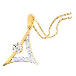 Classic Triangle Designed Diamond Gold Pendents