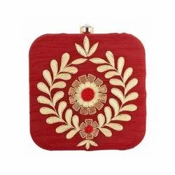 Red Embroidery Work and Gorgeous Handmade  Design Clutch Bag