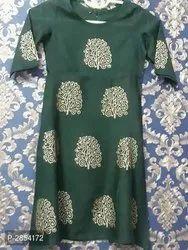 Rayon Fabric Gold Print Kurti