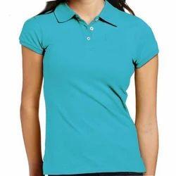 Ladies Half Sleeve Plain Collar Neck T-Shirt