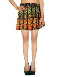 Cotton Ethnic Screen Printed Mini Damask Wrap Around Short Skirts